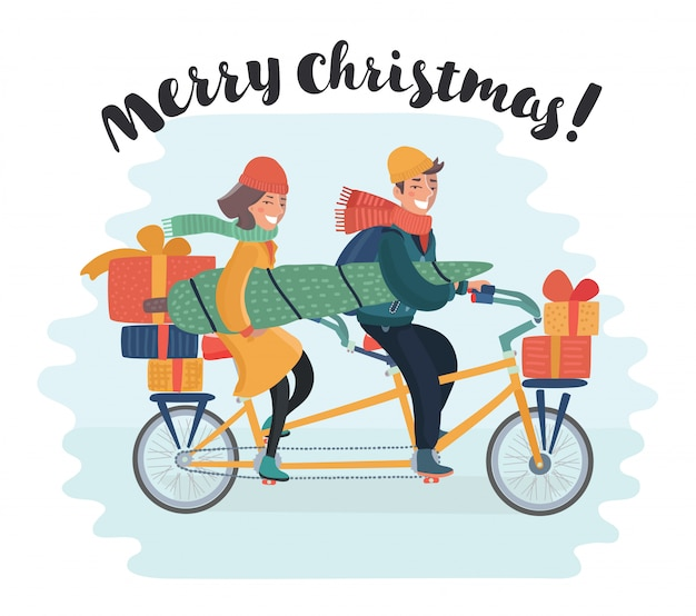 Cute girl on bicycle with dog caring christmas tree and colorful gift boxes. shopping spree. happy holidays concept. illustration and photo image available.