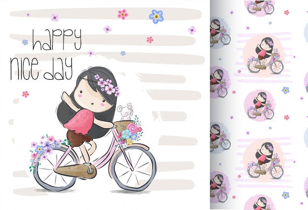 Cute girl on a bicycle with seamless pattern