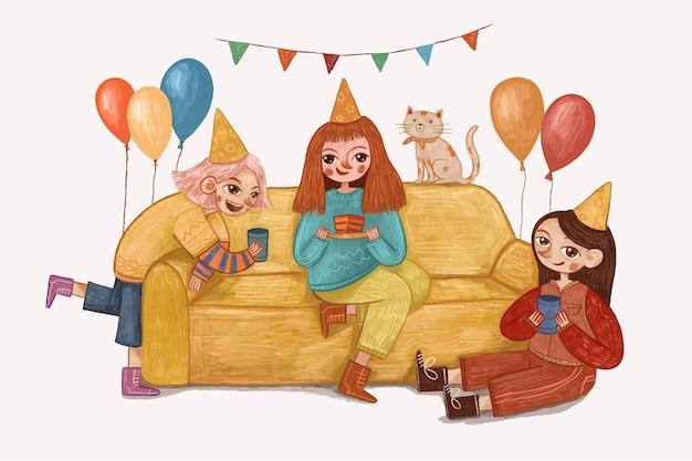 かわいい女の子の誕生日のお祝いのイラスト