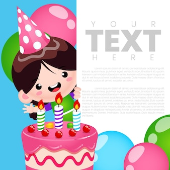 Cute girl birthday party invitation banner card template