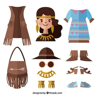 Cute girl and boho accessories in flat style
