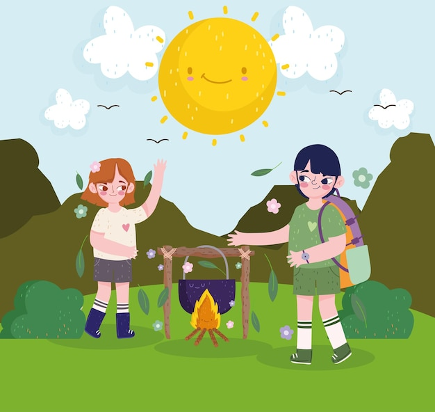 Cute girl and boy camping