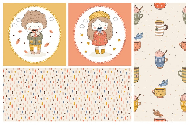 Cute girl and boy cartoon doodle characters. kids cards and seamless   pattern. autumn style.