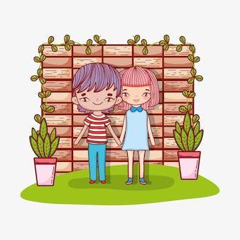 Cute girl and boy clouple with plants