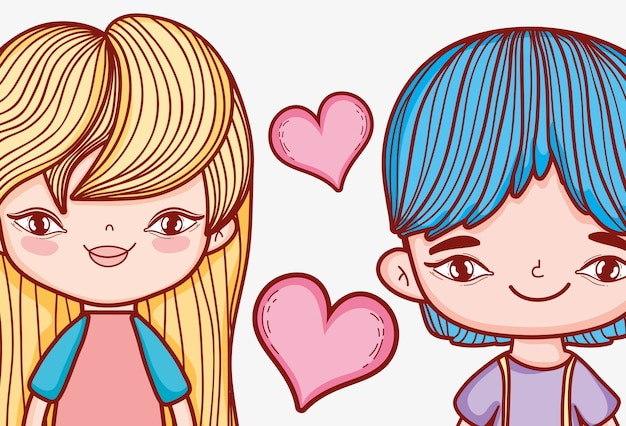 Cute girl and boy couple with hearts