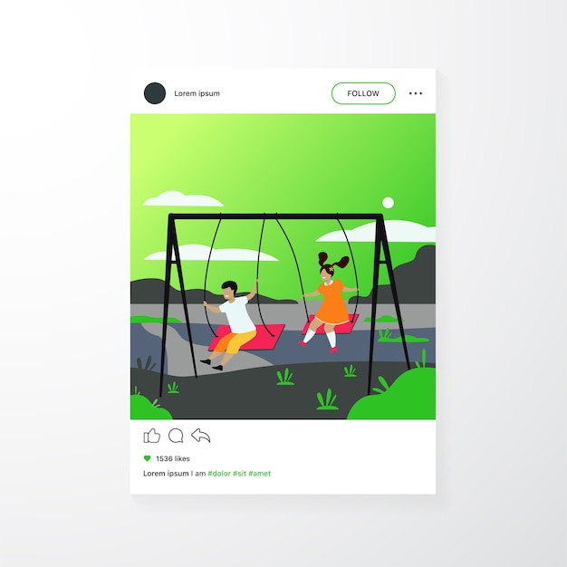 Cute girl and boy swinging and enjoying holiday isolated flat vector illustration. cartoon happy friends playing on playground