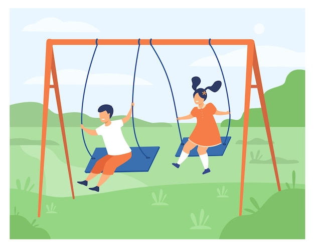 Cute girl and boy swinging and enjoying holiday isolated flat vector illustration. cartoon happy friends playing on playground.