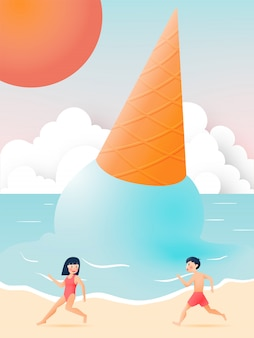 Cute girl and boy with beautiful beach and ice cream illustration