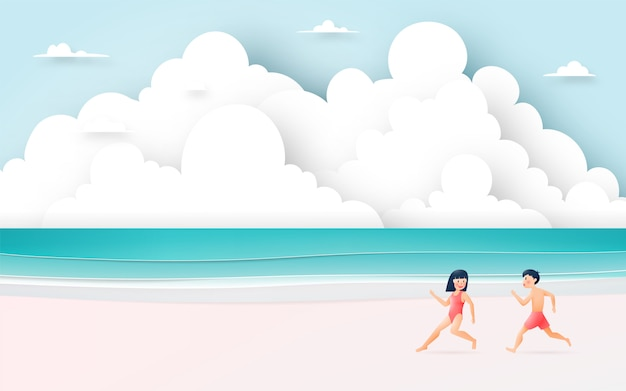 Cute girl and boy with beautiful beach illustration