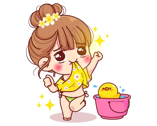 Cute girl and bucket with water in summer cartoon illustration