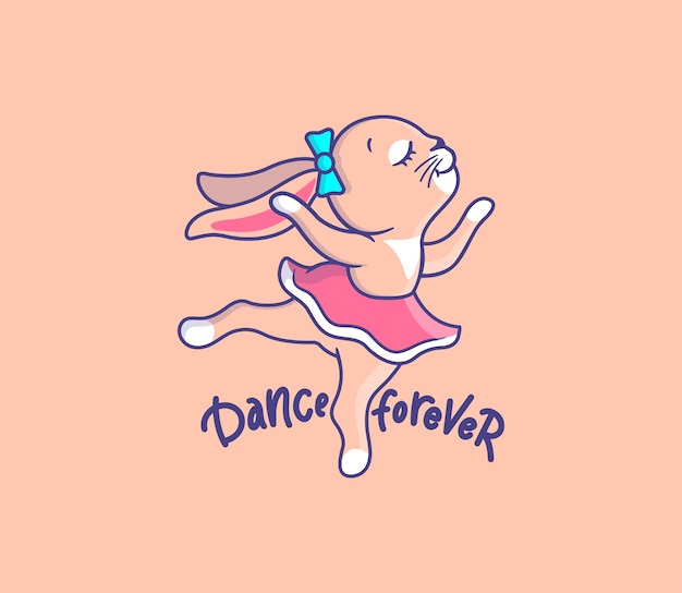 Cute girl bunny dancing. cartoonish animal with lettering phrase - dance forever.