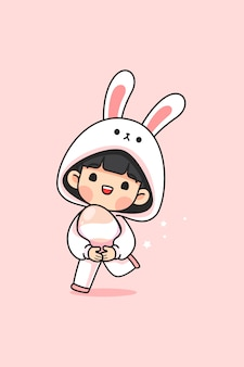 Cute girl in bunny suit carry easter egg and run on pink