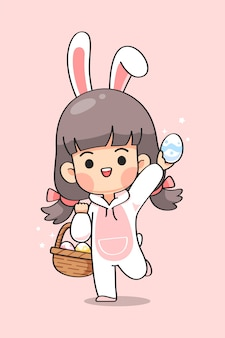 Cute girl in bunny suit with rabbit ears carry basket of easter eggs