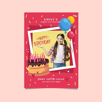 Cute girl and cake birthday invitation