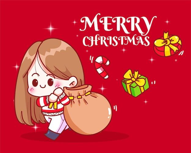 クリスマスの休日のお祝いの手描きの漫画アートイラストにプレゼント袋を運ぶかわいい女の子