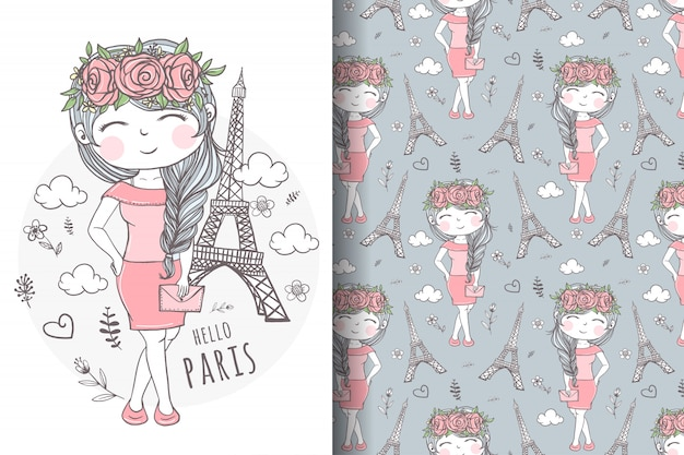 Cute girl carrying bag in paris illustration and pattern