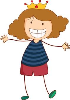 Симпатичная девушка мультипликационный персонаж в стиле рисованной каракули изолированные
