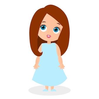 Милая девушка мультипликационный персонаж. векторная иллюстрация eps 10, изолированные на белом фоне. плоский мультяшный стиль.