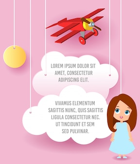 Cute girl cartoon character. vector paper art of cloud and plane flying in the sky. template advertising.