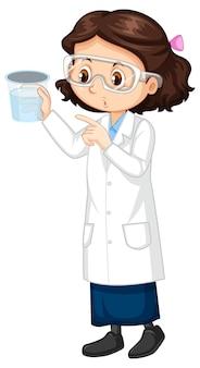 科学実験室のコートを着ているかわいい女の子の漫画のキャラクター