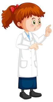 Милая девушка мультипликационный персонаж в пальто научной лаборатории