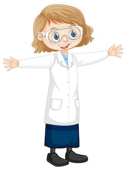 과학 실험실 코트를 입고 귀여운 소녀 만화 캐릭터