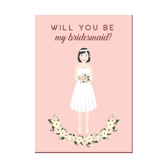 Cute girl cartoon character in white dresses bridesmaid invitation