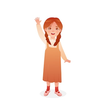 Cute girl cartoon gestures say hello