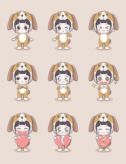 감정이 있는 강아지 의상을 입고 밝은 갈색 배경에 하트를 들고 있는 귀여운 소녀 만화