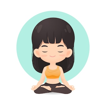 Cute girl cartoon in meditation pose