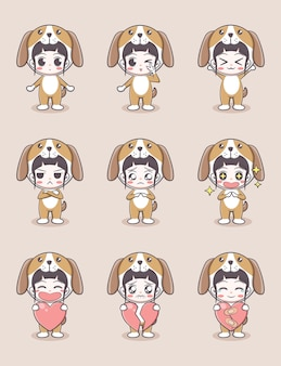 Cute girl cartoon in puppy costume with emotions and holding a heart on light brown background