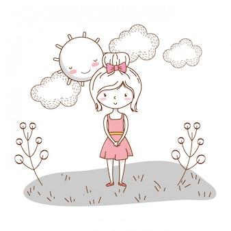 Cute girl cartoon stylish outfit dress nature sunny