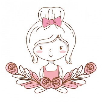 Cute girl cartoon stylish outfit dress portrait floral wreath frame
