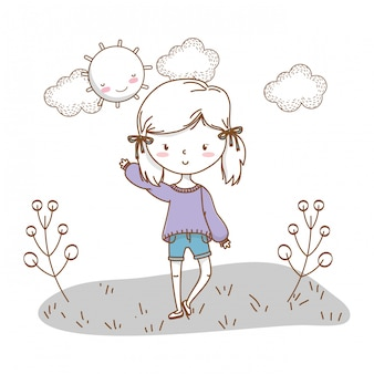 Cute girl cartoon stylish outfit nature sunny