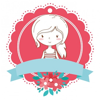 Cute girl cartoon stylish outfit portrait floral bloom frame