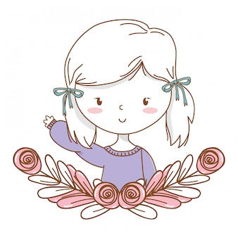 Cute girl cartoon stylish outfit portrait floral wreath frame
