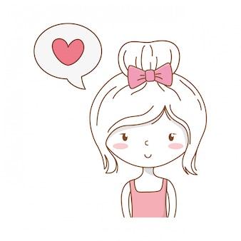 Cute girl cartoon stylish outfit portrait speech bubble