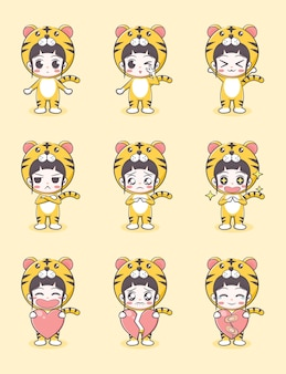 Cute girl cartoon in tiger costume with emotions and holding a heart on light yellow background