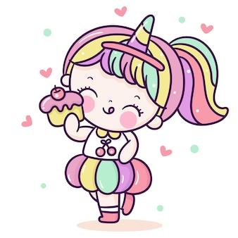 かわいい女の子の漫画はユニコーンホーンデザインの凝った服カワイイスタイルを着ます