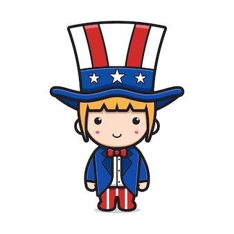 Cute girl cartoon wearing united states of america print suit and hait illustration