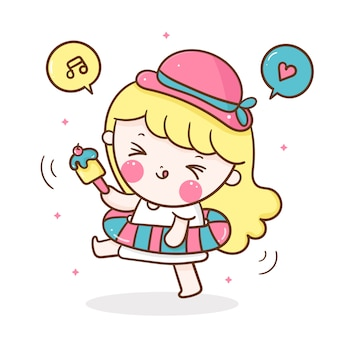Cute girl cartoon with swim ring and icecream in summer