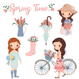 Cute girl cartoon with variety flower and spring season elements clip-art