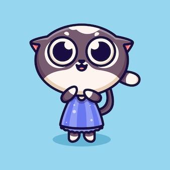 Cute girl cat icon logo illustration