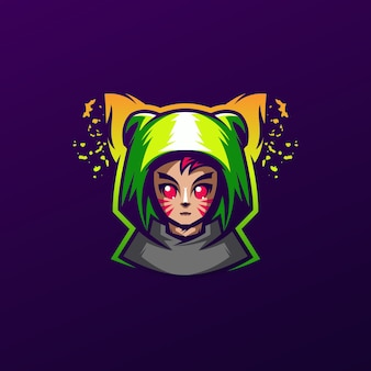 Милая девушка кошка логотип дизайн