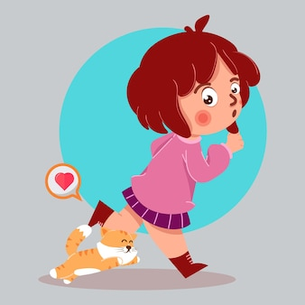 Симпатичная девушка-любитель кошек с иллюстрацией шаржа кошки