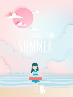 Cute girl and cat with beautiful beach background paper art and pastel color scheme