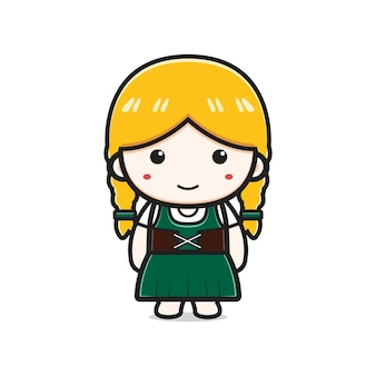 Cute girl celebrate oktoberfest cartoon icon illustration. design isolated flat cartoon style