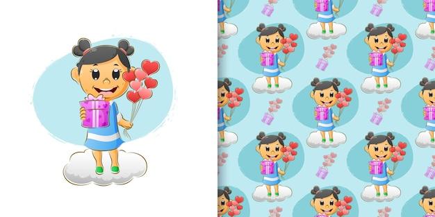 Милая девушка празднует валентинку, даря подарок и воздушные шары