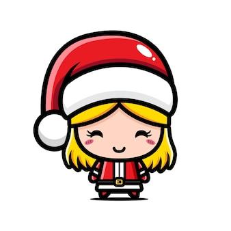 크리스마스를 축하하는 귀여운 소녀