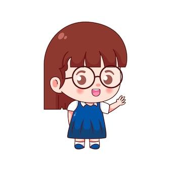 학교 로고로 돌아가기 위한 귀여운 소녀 캐릭터 디자인